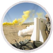 U.s. Army Specialist Calls In For An Round Beach Towel