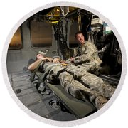 U.s. Army Specialist Practices Giving Round Beach Towel