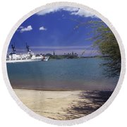 U.s. Coast Guard Cutter Jarvis Transits Round Beach Towel by Michael Wood