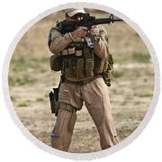 U.s. Contractor Firing A M4 Carbine Round Beach Towel