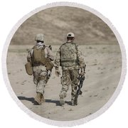 U.s. Marine And German Soldier Walk Round Beach Towel