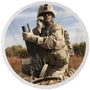 U.s. Marine Communicates Round Beach Towel