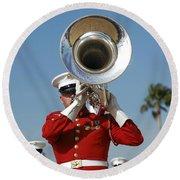 U.s. Marine Corps Drum And Bugle Corps Round Beach Towel