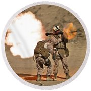 U.s. Marine Fires A Rpg-7 Grenade Round Beach Towel