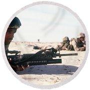 U.s. Marine Guards The Camp Perimeter Round Beach Towel