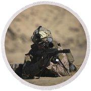 U.s. Marine Sights In A Barrett M82a1 Round Beach Towel