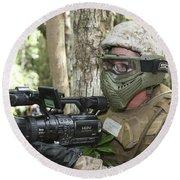 U.s. Marine Videotapes Combat Exercises Round Beach Towel