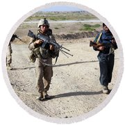 U.s. Marines And Afghan National Police Round Beach Towel