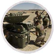 U.s. Marines Assemble A Satellite Dish Round Beach Towel