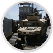 U.s. Marines Load An M1114 Humvee Onto Round Beach Towel