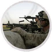 U.s. Marines Observe The Movement Round Beach Towel by Stocktrek Images