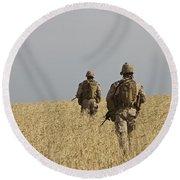 U.s. Marines Patrol A Wadi Near Kunduz Round Beach Towel