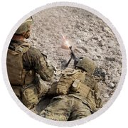 U.s. Marines Provide Suppressive Fire Round Beach Towel