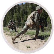 U.s. Marines Training At The Mountain Round Beach Towel by Stocktrek Images