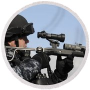 U.s. Navy Chief Uses An La9p Nonlethal Round Beach Towel