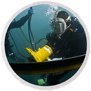 U.s. Navy Diver Instructs A Barbados Round Beach Towel