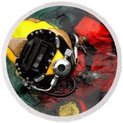 U.s. Navy Diver Is Lowered Round Beach Towel by Stocktrek Images