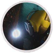 U.s. Navy Diver Welds A Repair Patch Round Beach Towel