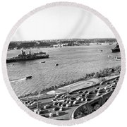 U.s. Navy In The Hudson River Round Beach Towel