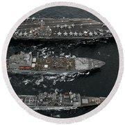 U.s. Navy Ships Conduct A Replenishment Round Beach Towel