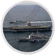U.s. Navy Ships Transit The Atlantic Round Beach Towel