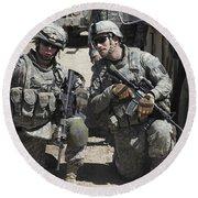 U.s. Soldiers Coordinate Security Round Beach Towel by Stocktrek Images