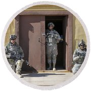 U.s. Soldiers On Guard At Fort Irwin Round Beach Towel