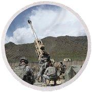 U.s. Soldiers Prepare To Fire Round Beach Towel