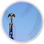 Usa Flag Top Round Beach Towel