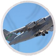 Usaf C-17 Lift Off  Round Beach Towel