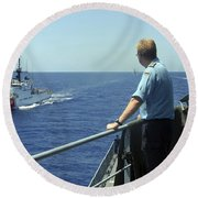 Uscgc Thetis Approaches A German Combat Round Beach Towel