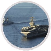 Uss Abraham Lincoln And French Navy Round Beach Towel