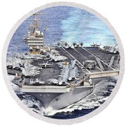 Uss Abraham Lincoln Transits Round Beach Towel