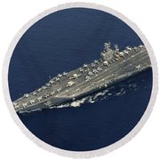 Uss Abraham Lincoln Transits The Indian Round Beach Towel by Stocktrek Images