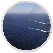 Uss Boxer, Uss Comstock And Uss Green Round Beach Towel