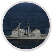 Uss Bunker Hill Fires Two Mk-45 5 Round Beach Towel