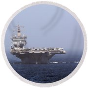Uss Enterprise In The Arabian Sea Round Beach Towel