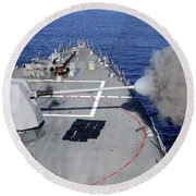 Uss Halsey Fires Its Mk-45 Round Beach Towel