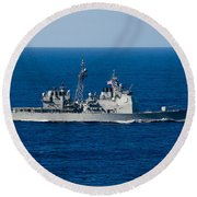 Uss Mobile Bay Transits The Pacific Round Beach Towel
