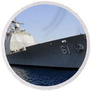 Uss Monterey Arrives Round Beach Towel
