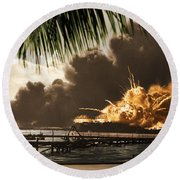 U S S Shaw Pearl Harbor December 7 1941 Round Beach Towel