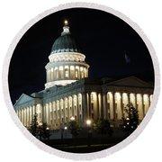 Utah Capitol At Night Round Beach Towel by Gary Whitton