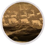 Utah Petroglyphs 1 Round Beach Towel