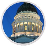 Utah State Capitol Building Dome At Sunset Round Beach Towel