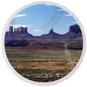 Utah, Usa Highway And Rock Formations Round Beach Towel