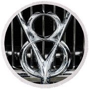 V-8 Car Emblem Round Beach Towel