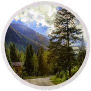 Vail Country Road 1 Round Beach Towel