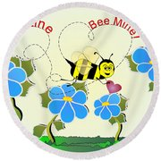 Valentine Bee Mine Round Beach Towel