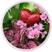 Valentine Heart And Flowers Round Beach Towel