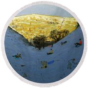 Valley And Sunlit Hillside Round Beach Towel